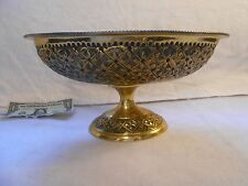 India Hammered  Brass Pedestal Bowl Intricate and LARGE,