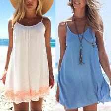 Womens Summer Backless Sundress Beach Bikini Cover Up Kaftan Short Mini Dresses