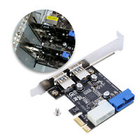 2 Ports PCI-E to USB 3.0 HUB PCI Express Expansion 19pin Header Card Adapter IDE