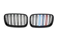 BMW X5 E70 2007-2013 X6 E71 2008-2014 GLOSS BLACK M POWER TWIN BAR KIDNEY GRILLS