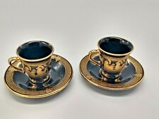 Spyropoulos 24K Gold Demitasse Cup & Saucer Hand Painted Made in Greece (2 sets)