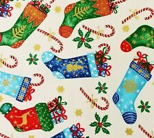 Christmas Holiday Stockings Cotton Quilt Fabric Cream Red Green Gold Accent