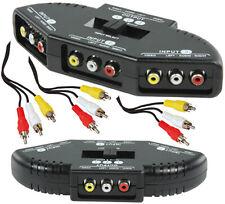 3 fach A/V Umschalter, Audio Video Cinch Verteiler mit 3 Stück 3-fach Cinchkabel