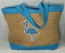 "Flamingo Bag Blue Tote Large Cruise Beach Summer Theme Park Travel 21x15"""