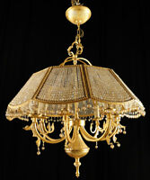 Antique french empire style chandelier Solid bronze  Carved glass balls