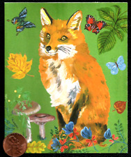 Beautiful Red Fox Butterflies Flowers Leaves Small Blank Greeting Note Card New