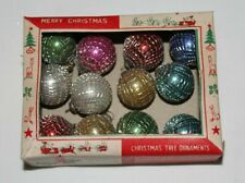 """12 Vtg Antique Mercury Glass Mesh Wire Wrapped Decorated Ornaments Japan 1"""" dia."""