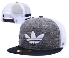 Embroidered Adidas Trefoil Snapback Grey and White Mesh Flat Cap: One Size