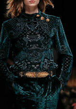 Balmain Embossed Green Silk/Velvet Blouse*3 Glden Buttns S6 $4900