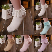 Women Vintage Retro Lace Ruffle Frilly Ankle Sock Cotton Socks Sweet Ladies Gift