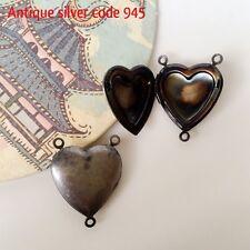 10x Heart locket connector link 20mm antique silver code 945