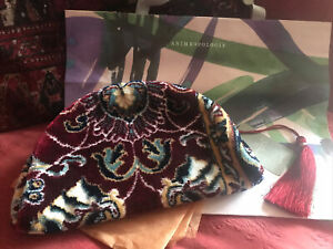 STUNNING ANTHROPOLOGIE ZIP TOP CARPET BAG WITH LRG TASSEL NEW WITH TAGS