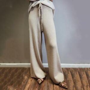 Damen Kaschmir-Mischung Weites Bein Hosen Hohe Taille Warm Strickhose Lange Mode