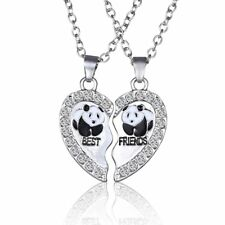 2PCs Panda BFF Best Friends Crystal Heart Pendant Necklace Silver Gold Jewelry