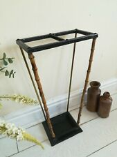Late Victorian Umbrella Stand Bamboo Brass Cast Iron 1890s AestheticPeriod