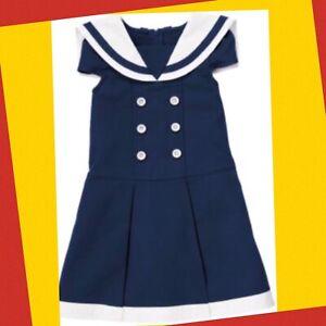 "NWT Girls 9 Gymboree ""BLOOMING NAUTICAL"" Navy Blue Cotton SAILOR NAUTICAL DRESS"