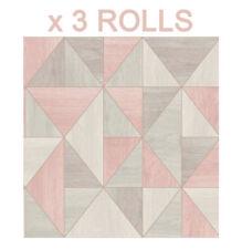 Pink Triangle Wallpaper Wood Grain Effect Apex Luxury Metallic Rose Gold x 3