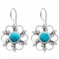 Lady 925 Silver Round Cut Turquoise Flower Hook Hoop Hook Jewelry Earrings