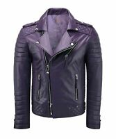 NOORA MEN'S GENUINE LAMBSKIN STYLISH MOTORCYCLE BIKER LEATHER JACKET PURPLE SP85