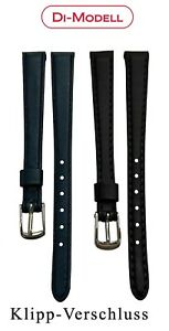 10 MM Genuine Leather Watch Strap Di-Modell Klipp-Verschluss Blau-Dunkel Blue