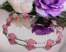 Halskette Polaris Effekt Rosa + Glas Würfel + Metall Röhrchen silber - Collier