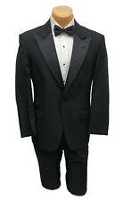 Men's Black Tommy Hilfiger Tuxedo with Pants Satin Peak Lapels 43L 35W