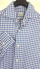 TRUZZI Mens Blue White Gingham Check L/S Dress Shirt 15.5-33 Regular (39) Italy