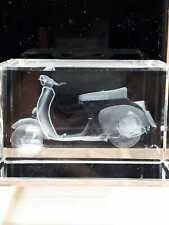 Bevelled Edge Glass 3D Laser Block Paperweight : Vespa Motorbike
