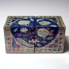 Boîte à bijoux Double Cube Bois Nacre Fleurs de Pivoine Couleur Vive Asie Corée