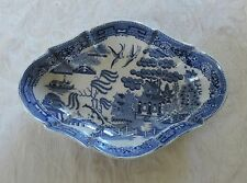Early 19thC Staffordshire Pearlware Blue Willow Pattern Lozenge Dish c1830