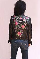 Hand Painted Vegan Leather Moto Jacket - Never Give Up!