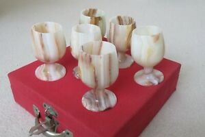 Onyx Marble Cups Goblets Shots Wine Champagne Glasses Vintage Set of 6 - boxed