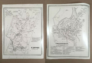 Collinsville Canton CT: Two Vintage B&W Photographic Prints from 1869 Atlas