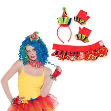 DONNA CIRCO CLOWN Kit accessori FASCIA GUANTI colletto Costume