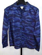 Foxcroft Blue Camo Collared Blouse Plus Size 16 P