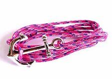 Bracelet corde rose et bleu ancre de marin