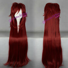 Black Butler kuroshitsuji Grell Sutcliff cosplay wig long wig dark red wig