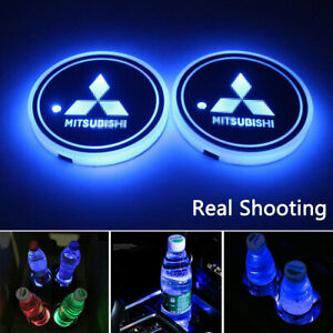 2PCS LED Car Cup Holder Light Pad 7 Color Changing USB Charge Mat for Mitsubishi