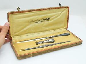1920s Antique Silver Set Dip Pen Desk Set Seal Letter Opener PARIS MANCHE ARGENT