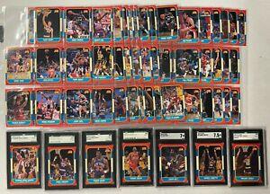1986-87 Fleer Basketball Near Complete Set 131/132 Missing Jordan RC + Stickers
