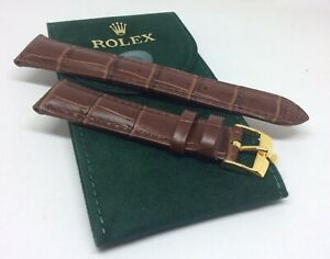ROLEX Watch Bands 20MM Brown Leather w. Gold Plated Buckle & HQ ROLEX Pouch