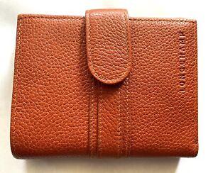 NEW LONGCHAMP Le Foulonne  Cognac Leather Card Compact Bifold  Wallet