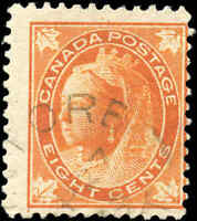 1897 Used Canada 8c F Scott #72 Queen Victoria Maple Leaf Stamp