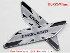 2X Decal Metal Emblem Badge Car Fender Side Sticker For Black Union Jack England