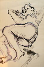 VINTAGE EXPRESSIONIST NUDE WOMAN PORTRAIT INK PAINTING
