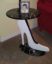Unique Shoe Table - White and black shoe - Contemporary Table - Accent table