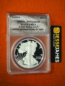 2020 S PROOF SILVER EAGLE ANACS PR70 DCAM FIRST STRIKE LABEL