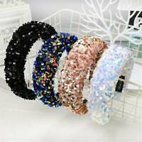 Women's Sequin Padded Hairband Wide Headband Hair Band Hair Hoop Accessories