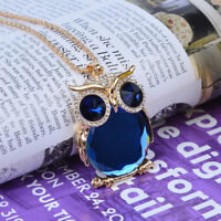 Jewelry Pendant Set Trendy Sweater Chain Owl Drill Necklace Rhinestone Women
