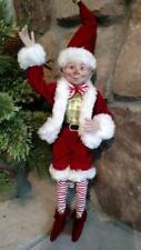 "NWT RAZ 15"" Santa's ELF Peppermint Red White Christmas Figure Display Prop"